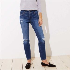 Loft high waist skinny distressed jeans high rise